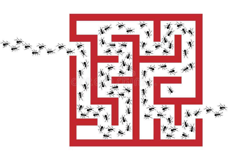 pussel för problem för plåga för myrainfestationmaze stock illustrationer