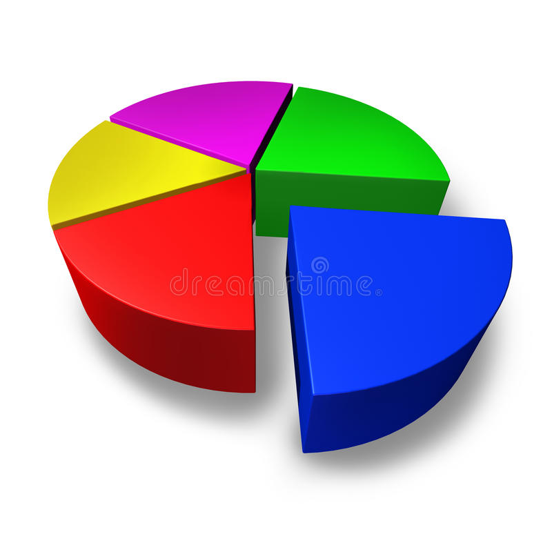 pussel för stycken för pie för affärsdiagram färgat mång- stock illustrationer