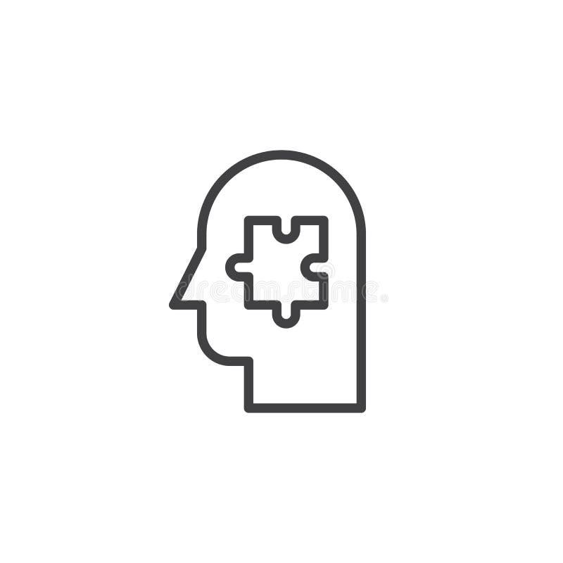 Pussel i översiktssymbol för mänskligt huvud vektor illustrationer