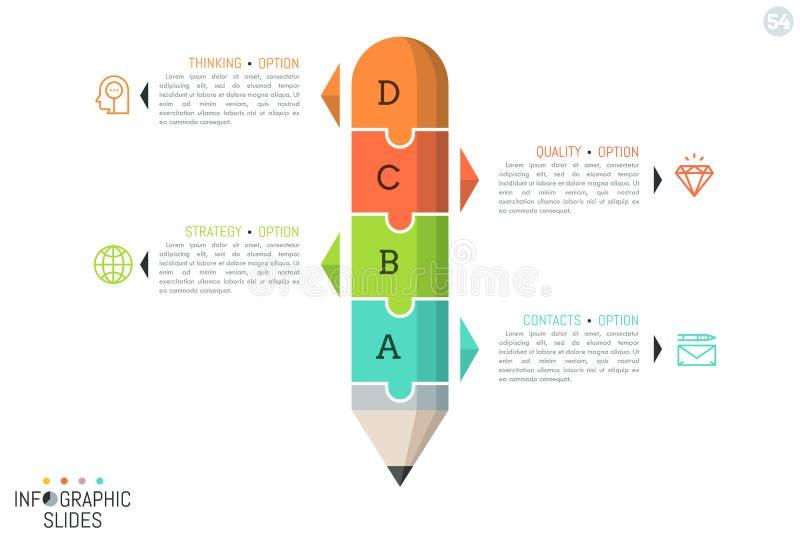 Pussel i form av blyertspennan som delas in i 4 delar vektor illustrationer