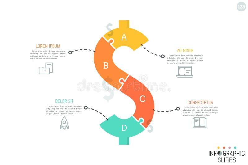 Pussel i form av dollartecknet stock illustrationer