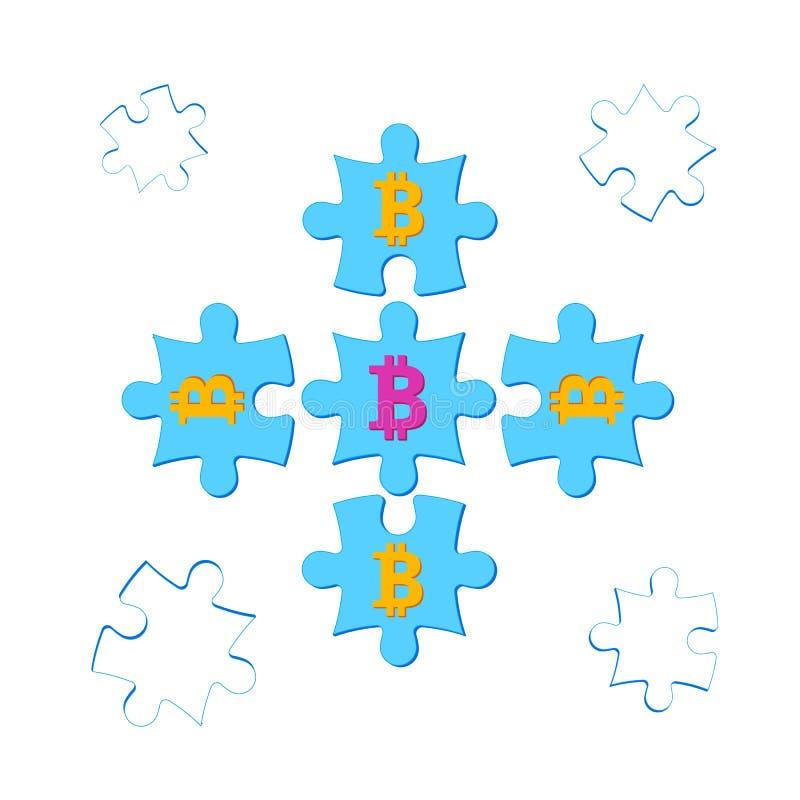 Pussel med bitcoins i mitten royaltyfri illustrationer