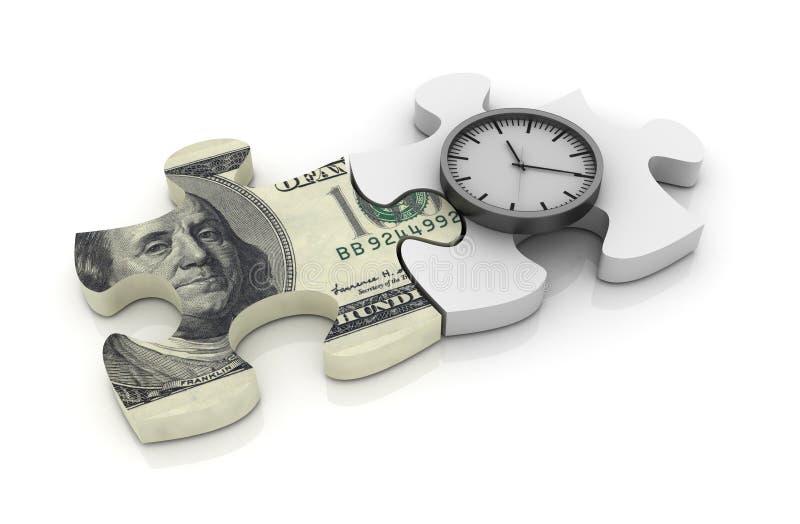 Pussel med den Dolar räkningen och klockan stock illustrationer