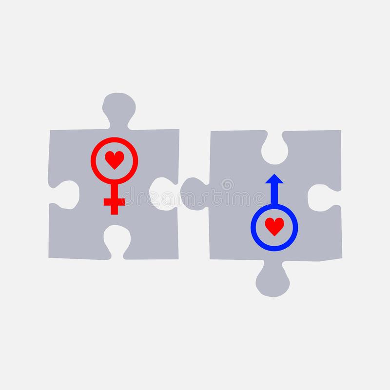 Pussel med kvinnliga symboler som är manliga och vektor illustrationer