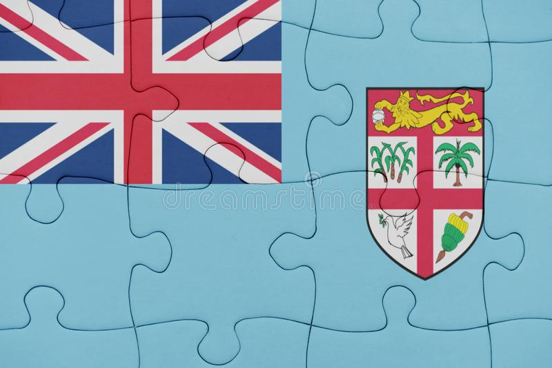 Pussel med nationsflaggan av Fiji royaltyfri fotografi