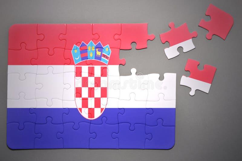 Pussel med nationsflaggan av Kroatien royaltyfri illustrationer