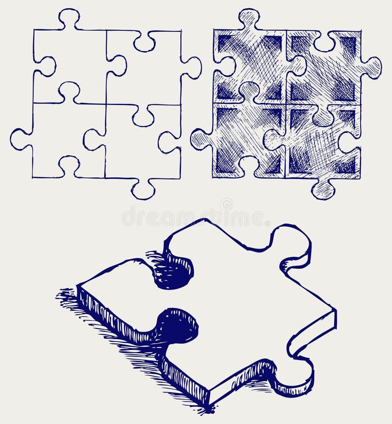 Pussel skissar vektor illustrationer