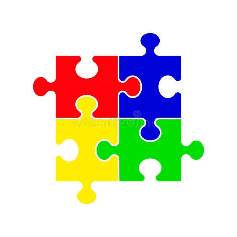 Pussel - vektorsymbol Upps?ttning av det f?rgrika pusslet f?r stycke fyra p? vit bakgrund royaltyfri illustrationer