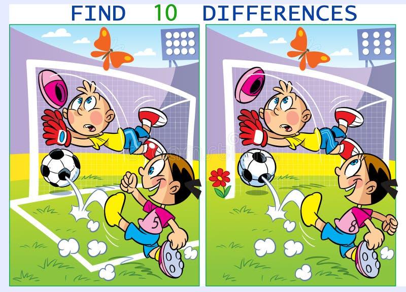 Pusselbarn spelar fotbollfyndskillnader vektor illustrationer