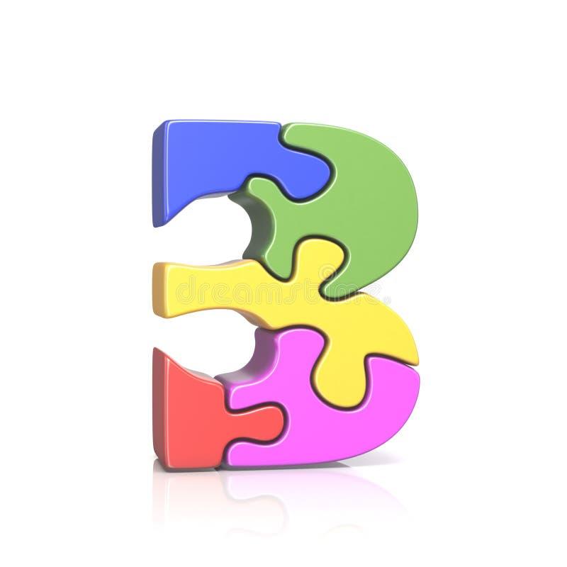 Pusselfigursåg nummer TRE 3 3D vektor illustrationer