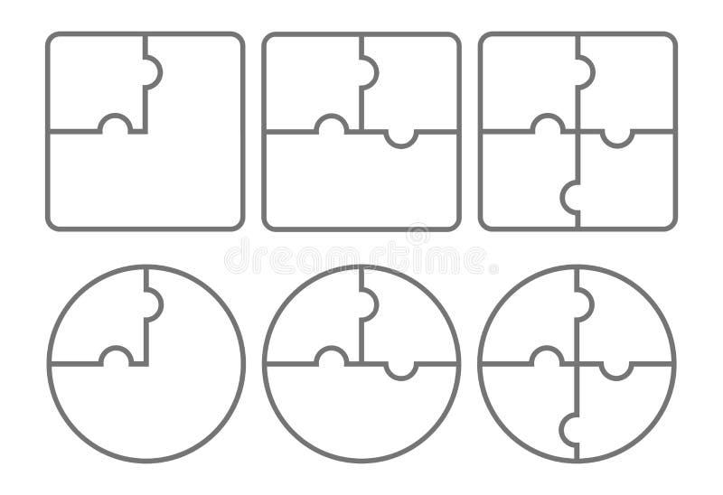 Pusselformer som isoleras på vit bakgrund också vektor för coreldrawillustration royaltyfri illustrationer