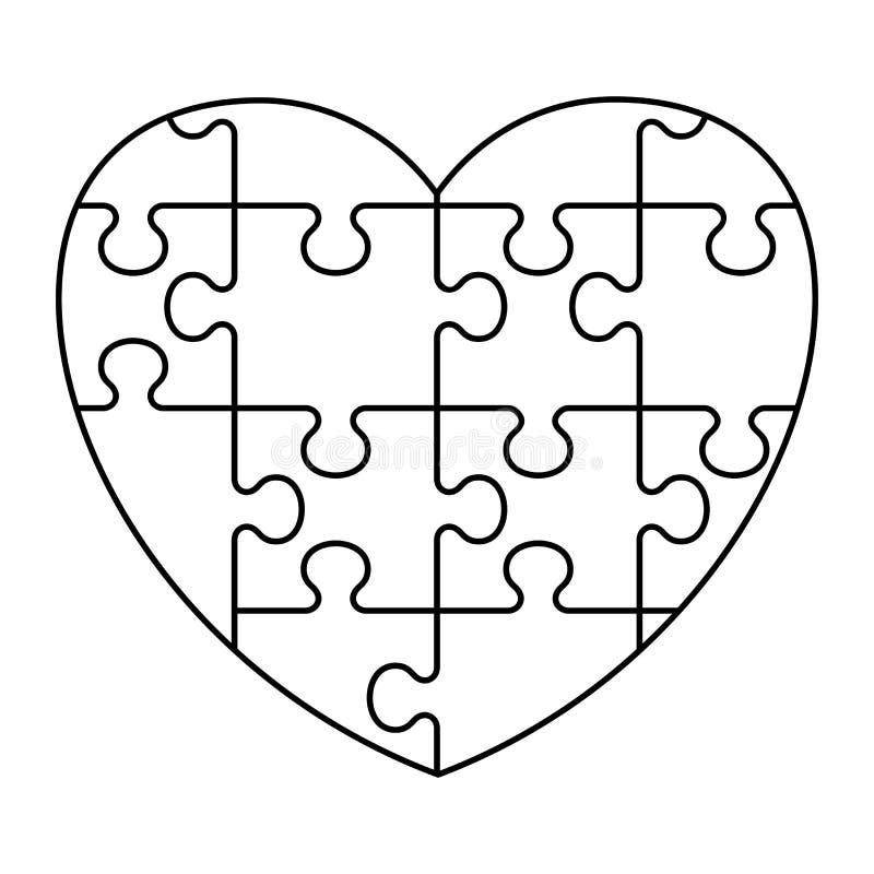 Pusselhjärtasymbol royaltyfri illustrationer
