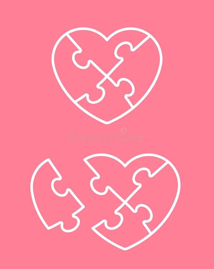 Pusselhjärtasymbol med saknadstycket royaltyfri illustrationer