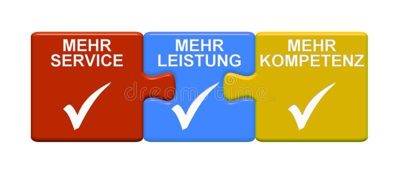 3 pusselknappar som visar mer service mer effektivitet mer sakkunskaptysk royaltyfri illustrationer