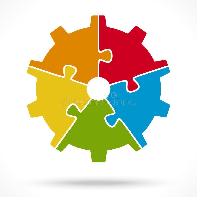 pusselkugghjulhjul för teamworksymbolism royaltyfri illustrationer