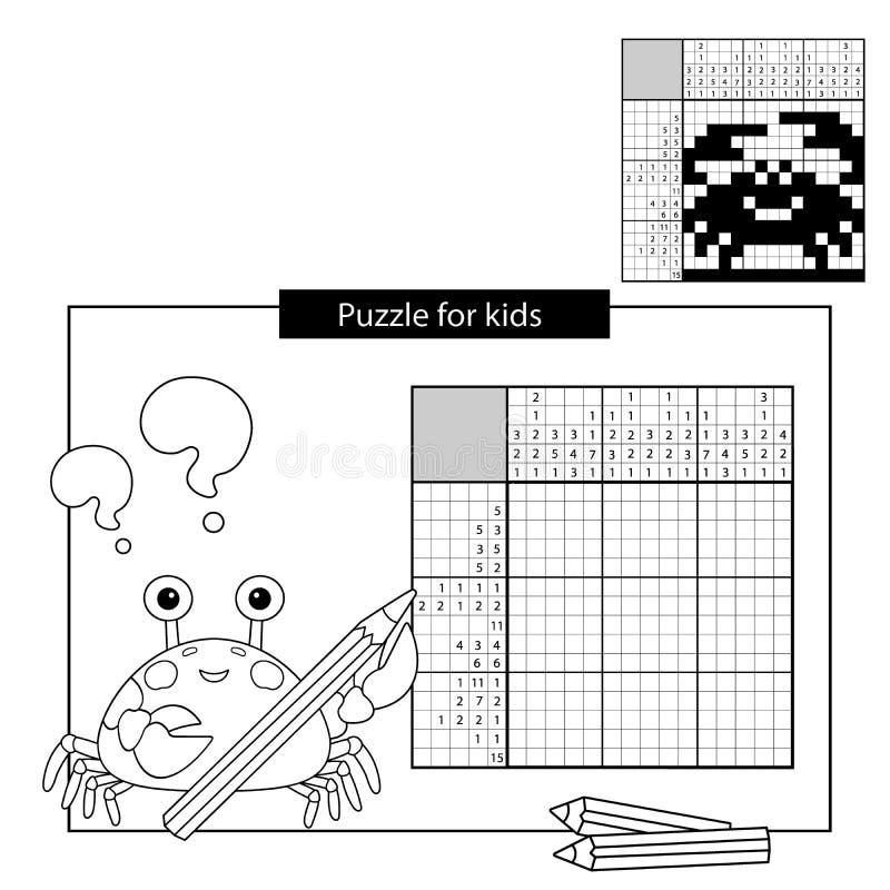 Pussellek för skolbarn Krabba Svartvitt japanskt korsord med svar stock illustrationer