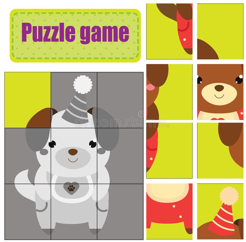 pussellitet barn Matchstycken och avslutar bilden Aktivitet för pre skolårungar Djurtema gullig valp stock illustrationer