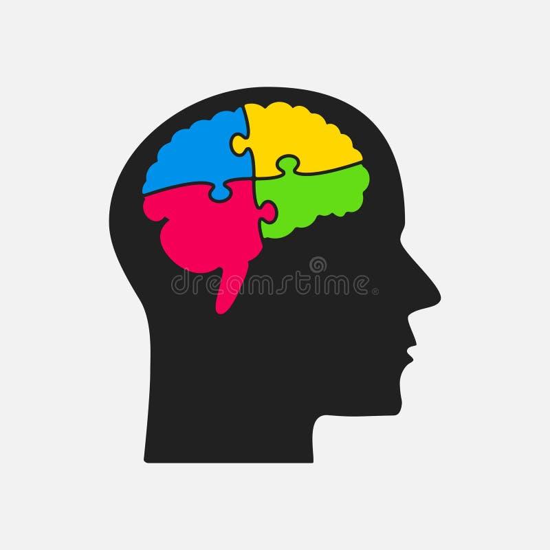 Pusselstyckhuvud och hjärna Figursåghjärna Pussel royaltyfri illustrationer