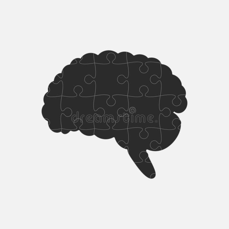 Pusselstyckkontur Brain Jigsaw Puzzle Brain stock illustrationer