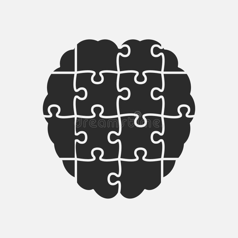 Pusselstyckkontur Brain Jigsaw Puzzle Brain royaltyfri illustrationer