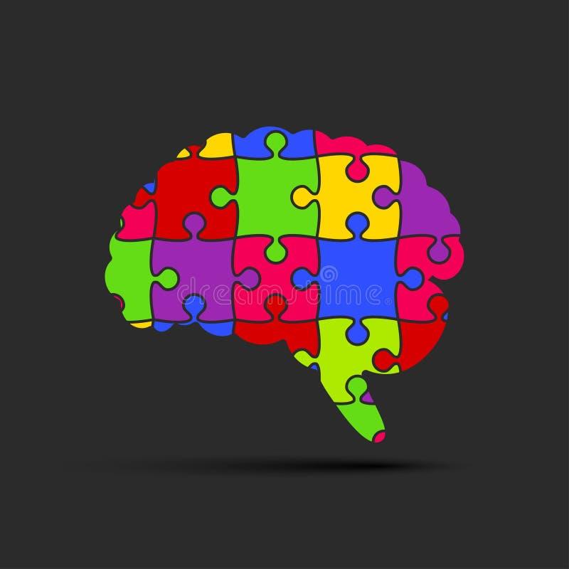 Pusselstyckkontur Brain Jigsaw Puzzle Brain vektor illustrationer