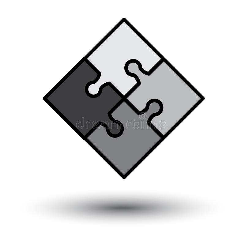 Pusselsymbol med skugga vektor stock illustrationer