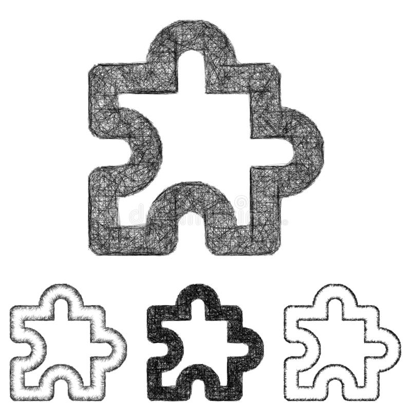 Pusselsymbolsuppsättningen - skissa linjen konst vektor illustrationer