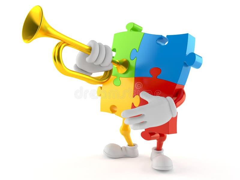 Pusseltecken som spelar trumpeten vektor illustrationer