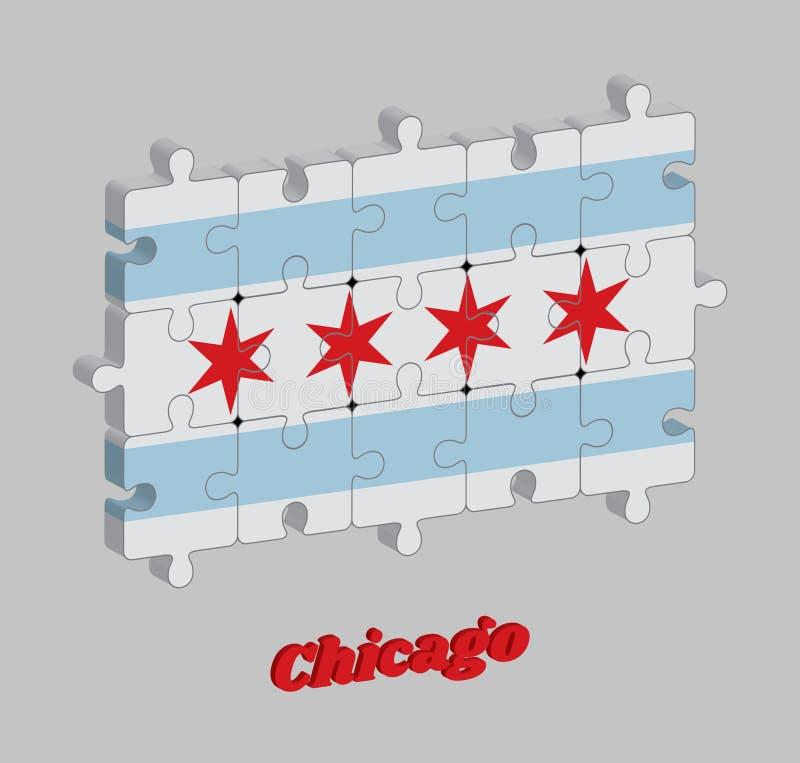 pusslet 3D av den Chicago flaggan staden av Chicago är den mest tätbefolkade staden i Illinois, Amerikas förenta stater stock illustrationer