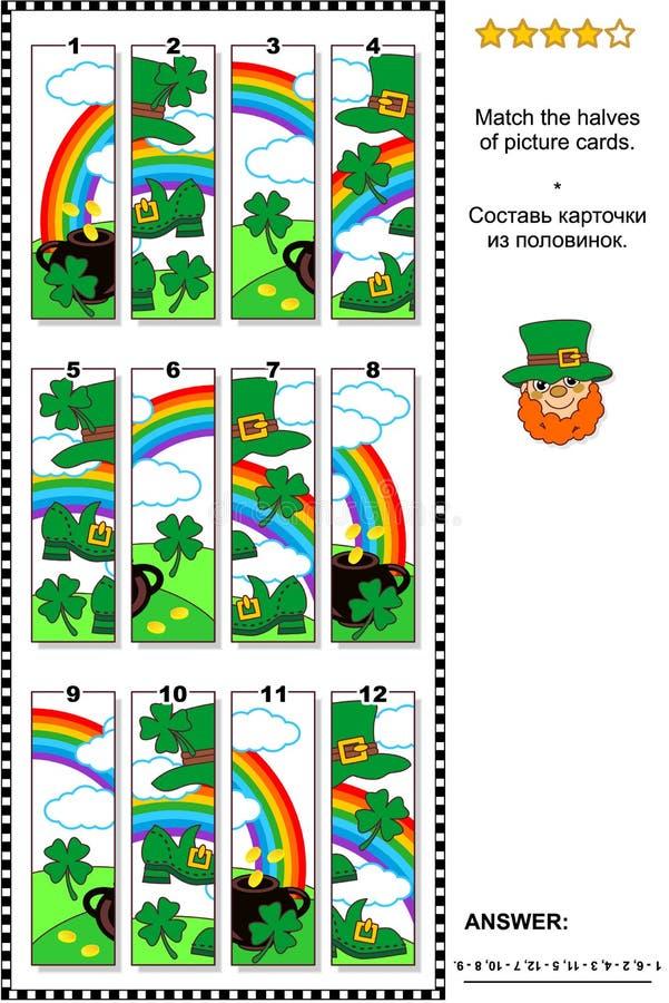 Pusslet för dagen för St Patrick ` s det visuella - matcha halvorna av klädda kort vektor illustrationer