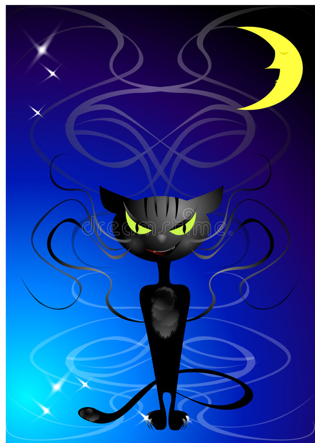 Download Cat with evil smile... stock vector. Image of stars, lively - 1454336