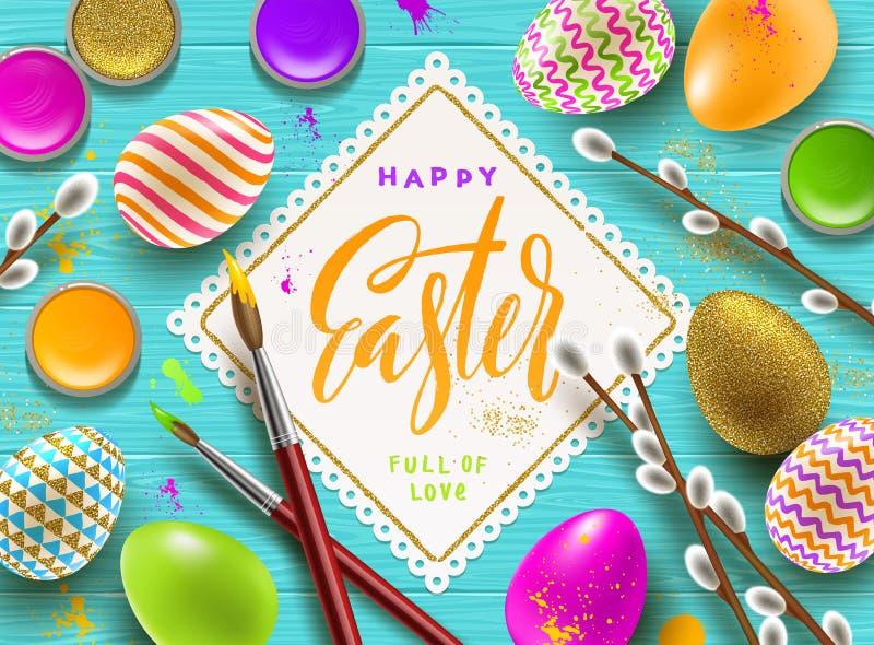 Pussy-Weidenniederlassungen, Farbe verzierten mehrfarbige Eier und Papierrahmen mit kalligraphischem Gruß vektor abbildung