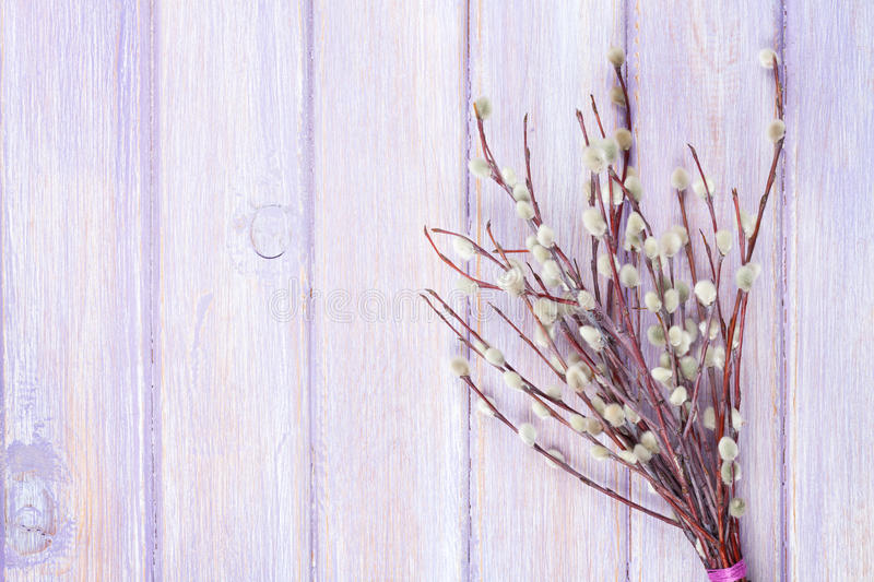 Willow bunch. Over wooden table background with copy space stock photo