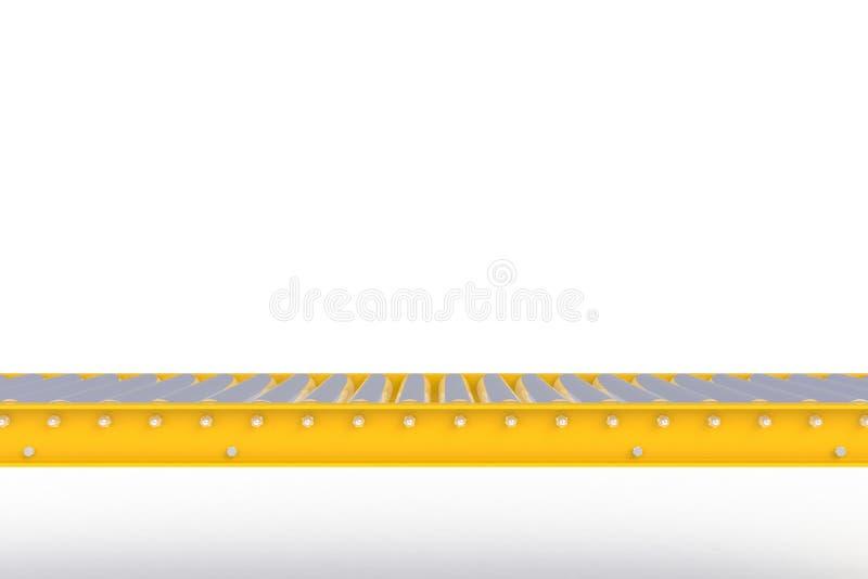 Pusta żółta konwejer linia odizolowywająca na białym tle, Doręczeniowy pojęcie Dla produktu pokazu, ilustracja wektor