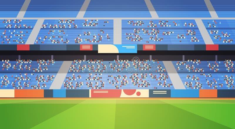 Pusta arena wypełniać stadionu futbolowego pola trybuny przed początkiem dopasowywają mieszkanie horyzontalnego ilustracji