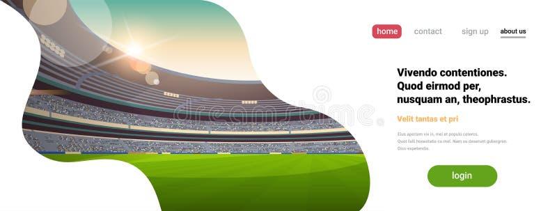 Pusta arena wypełniać stadionu futbolowego pola trybuny w wieczór przed początku dopasowania kopią interliniują płaskiego sztanda royalty ilustracja