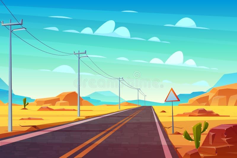 Pusta autostrada w gorącym deserowym kreskówka wektorze ilustracji