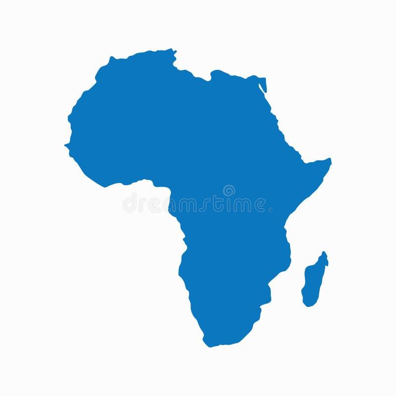 Pusta Błękitna jednakowa kontynentu Afryka mapa odizolowywająca na białym tle Wektorowy szablon dla strony internetowej, d royalty ilustracja