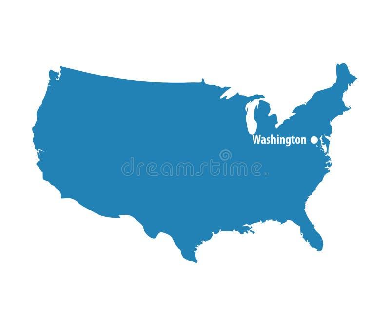 Pusta Błękitna jednakowa usa mapa z DC Waszyngton odizolowywający na białym tle Stany Zjednoczone Americ ilustracja wektor