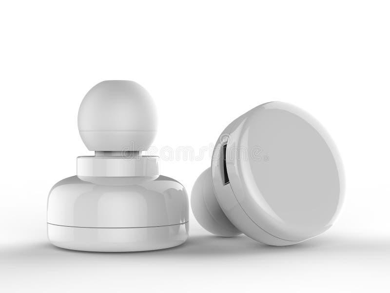 Pusta Bezprzewodowa Bluetooth słuchawka, Earbud lub hełmofon, 3d odpłacamy się ilustrację ilustracja wektor