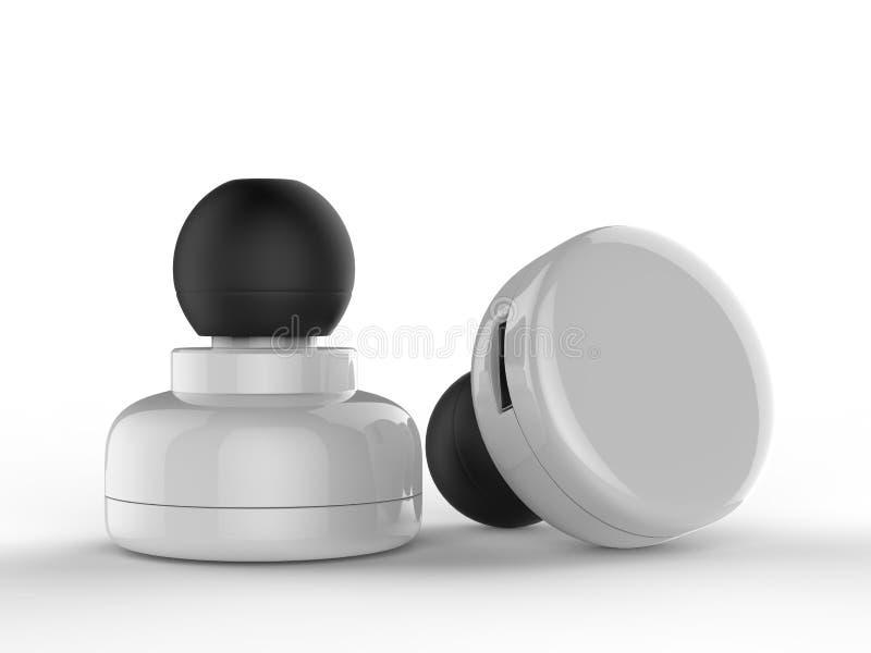 Pusta Bezprzewodowa Bluetooth słuchawka, Earbud lub hełmofon, 3d odpłacamy się ilustrację ilustracji