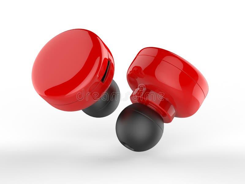 Pusta Bezprzewodowa Bluetooth słuchawka, Earbud lub hełmofon, 3d odpłacamy się ilustrację royalty ilustracja