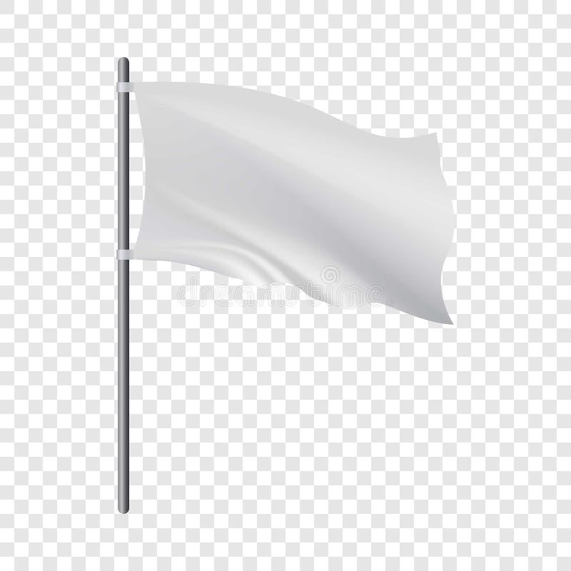 Pusta biała flaga rozwija w wiatrowym mockup ilustracja wektor