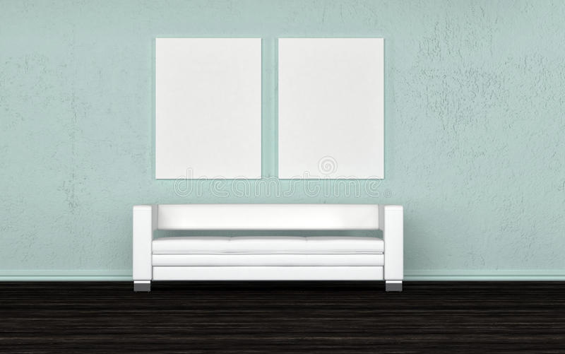 Pusta biała kanapa pod pustej ściany canvasses ilustracja wektor
