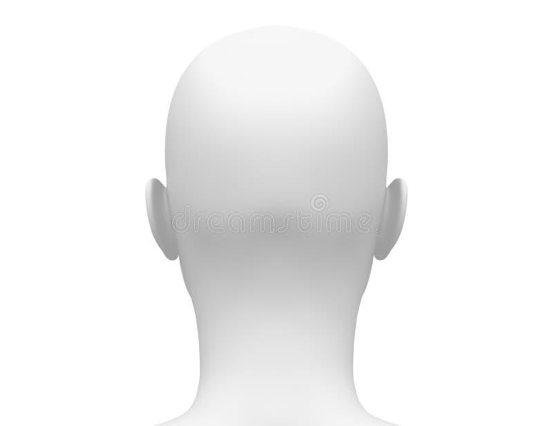 Pusta Biała kobiety głowa - Tylny widok royalty ilustracja