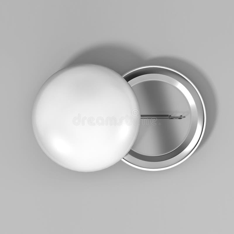 Pusta biała odznaki szpilki broszka na popielatym tle, 3d realistyczny odpłaca się ilustrację dla loga i projektuje szablon ilustracja wektor