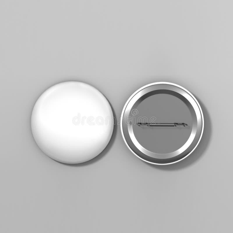 Pusta biała odznaki szpilki broszka na popielatym tle, 3d realistyczny odpłaca się ilustrację dla loga i projektuje szablon royalty ilustracja