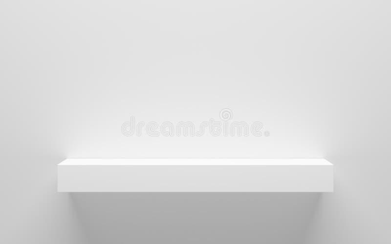 Pusta biała półka na ścianie ilustracji