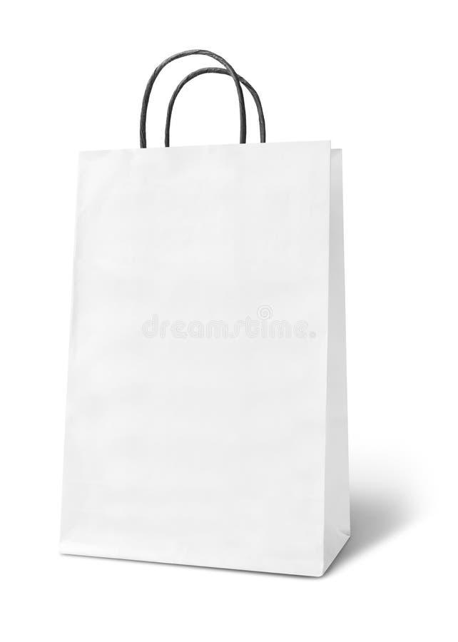 Pusta biała papierowa torba fotografia stock
