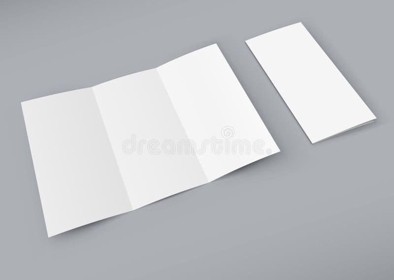 Pusta biała trifold broszura na koloru tle ilustracja wektor